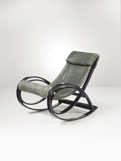 Gae Aulenti, 'A Sgarsul rocking chair with a curved wood structure and leather seat', 1962