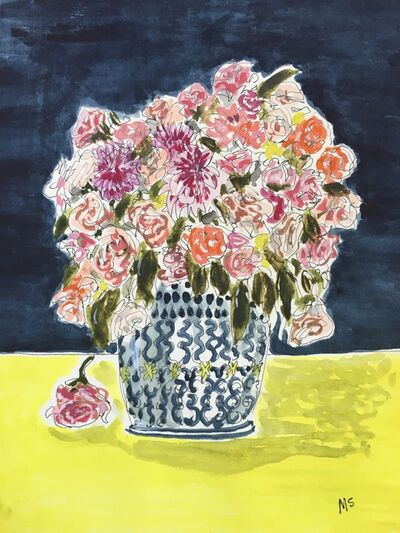 manuel santelices, 'Flowers and yellow tablecloth, 2021', 2021