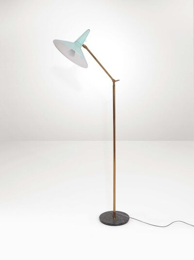 Lumen, 'A floor lamp with a brass structure and lacquered aluminum diffuser', 1950 ca.
