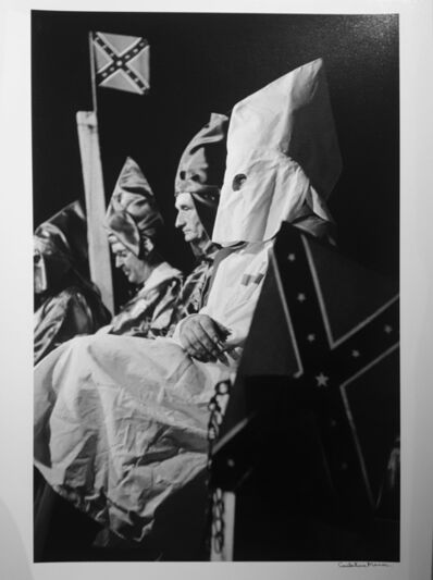 Constantine Manos, 'Ku Klux Klan (klansmen seated with flags), Columbia, South Carolina,', 1952