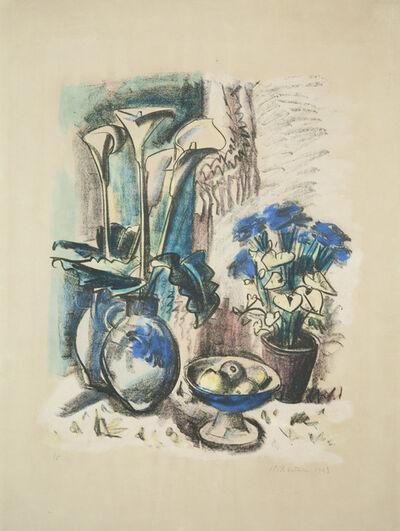 Max Pechstein, 'Stilleben mit Kalla in Westerwälder Krug', 1923