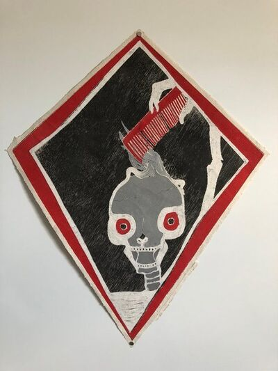 Francisco Toledo, 'Mexican Modernist Kite Painting, Stencil, Skull Woodcut Print Hand Signed', 21st Century