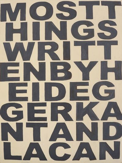 Richard Grayson, 'Negative stance, (things I don't undersand) Heidegger', 2000