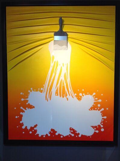 "Efraim Mashiah, '""Lets Paint"" White on Yellow/Orange Ombre', 2019"