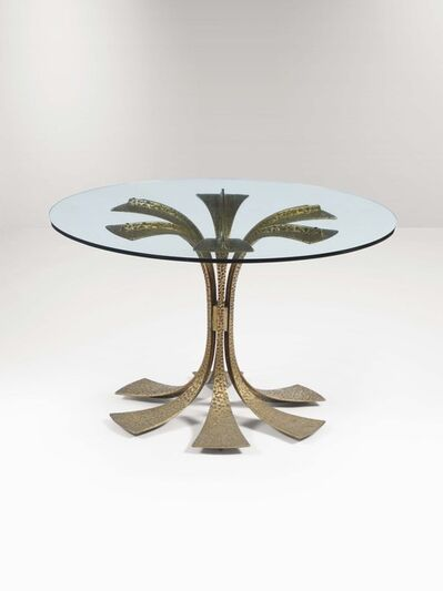 Luciano Frigerio, 'A table with a hammered bronze structure and a glass top', 1960 ca.