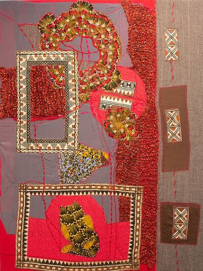 Jennifer Blalack, 'Communication - Bright Red Color, International Fabric and Textile Collage', 2021