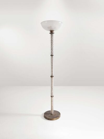 Barovier & Toso, 'A floor lamp with a metal base, glass and brass structure and glass diffuser', 1930 ca.
