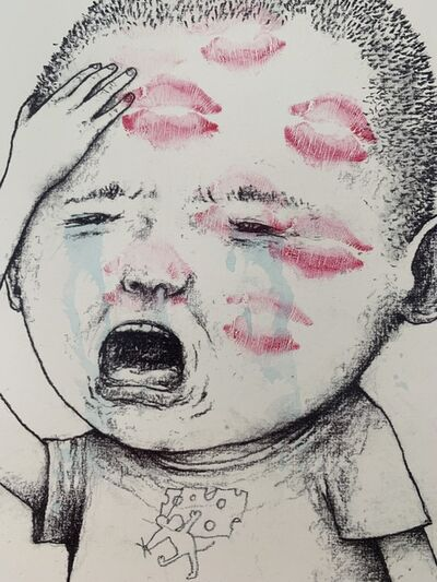 "dran, 'DRAN ""KISS ME"" CRYING BOY, HAND-FINISHED, NUMBERED & SIGNED BY ARTIST', 2018"