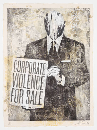 Shepard Fairey, 'CORPORATE VIOLENCE FOR SALE', 2012