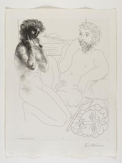Pablo Picasso, ''Sculpteur et modèle se regardant dans un miroir calé sur un autoportrait sculpté' from the 'Suite Vollard'', 1933