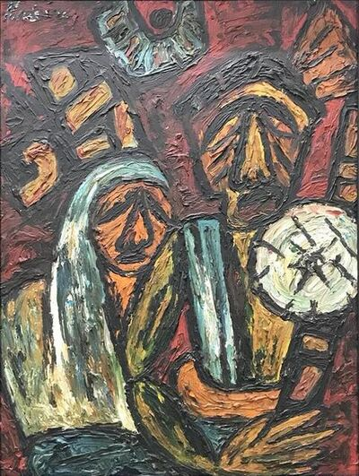 """Rabin Mondal, 'Migrant Workers, Oil on Board by Modern Indian Artist """"In Stock""""', 2000-2018"""