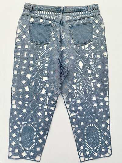 Libby Newell, 'Meticulously Distressed Denim Jeans, Honiton Lace', 2021