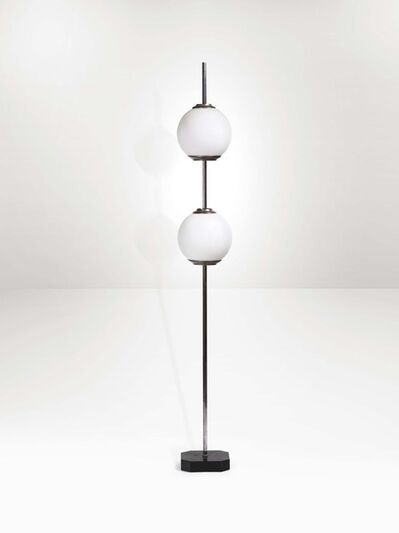 Luigi Caccia Dominioni, 'A mod. LTE10 floor lamp with two opaline glass globes on a square-section shaft', 1950 ca.