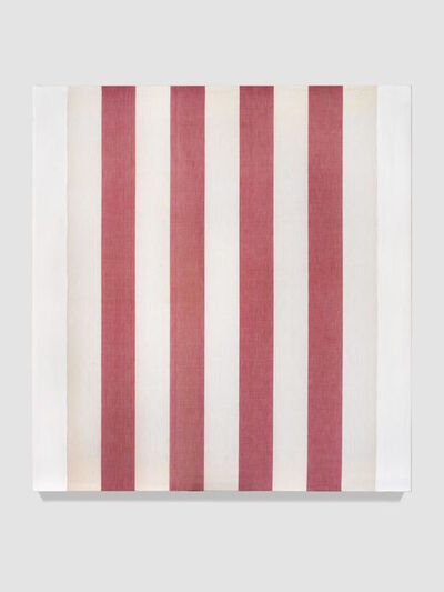 Daniel Buren, 'White acrylic paint on red and white canvas, ', 1966