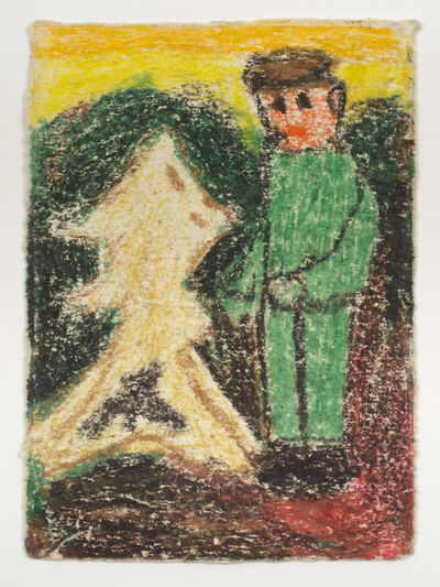 James Castle, 'Untitled (Boy in green suit with abstract figure)', n.d.