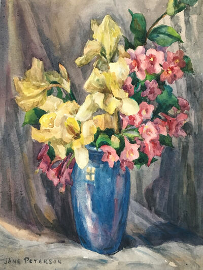 Jane Peterson, 'Irises & Weigela in Blue Vase'