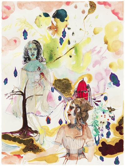 Rina Banerjee, 'Bad girls: not an observation of nature but perhaps a predisposition or behavior was governed by certain divisions of labor. Kali like creatures and cannibal like features adapted her to Punch and Jude theater when married to a mystery mister.', 2012