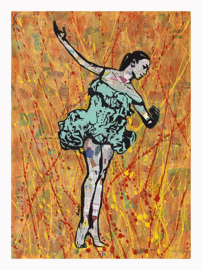 Amy Smith, 'Fire Dancer - Figurative Pop Art Street Art Print of Ballet Dancer Orange and Green', 2020