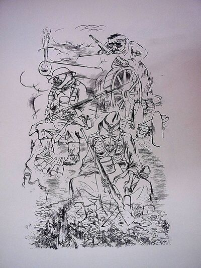George Grosz, '1936 Lithograph Soldiers in battle World War I small edition', 1936
