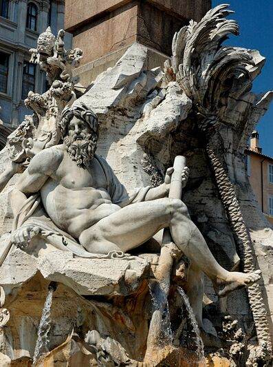Gian Lorenzo Bernini, 'Fountain of the Four Rivers, the Ganges (Asia)', 1648-1651