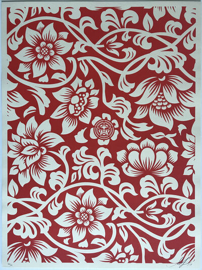 Shepard Fairey, 'Floral Takeover - Cream / Red', 2017