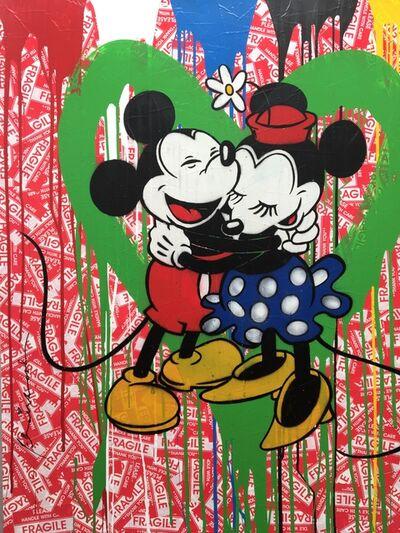Mr. Brainwash, 'Mickey & Minnie in love (green heart)', 2014