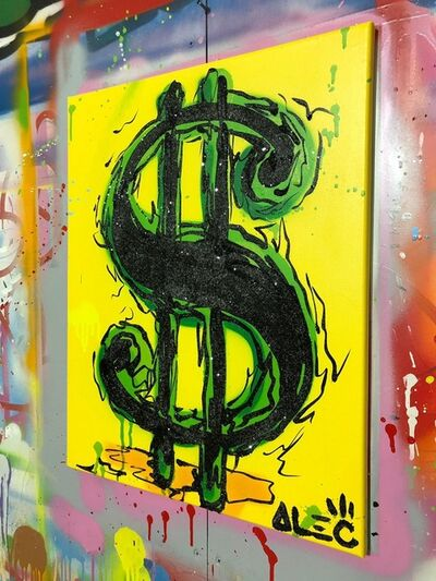 Alec Monopoly, 'Money Screen - Black on Green Background', 2019