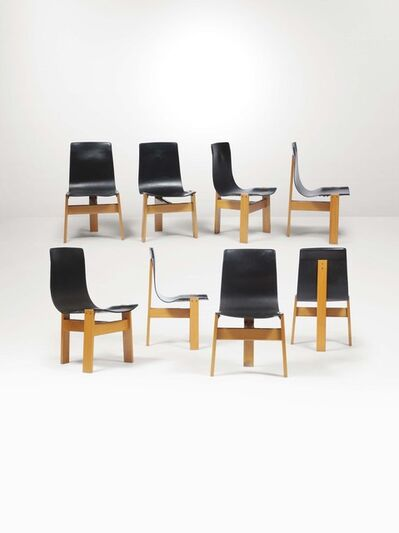 Angelo Mangiarotti, 'Eight Tre 3 chairs with a wooden structure and leather seats', 1970 ca.