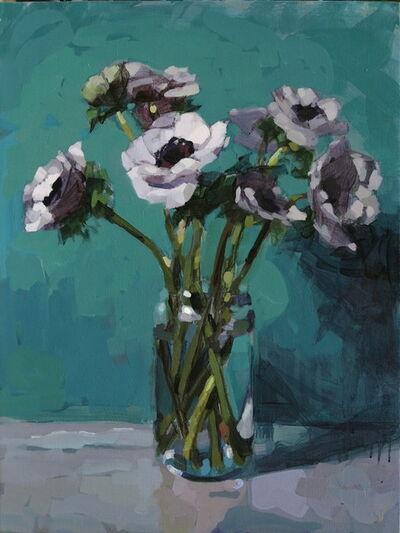 Laurent Dauptain, 'Anémones blanches, fond vert'