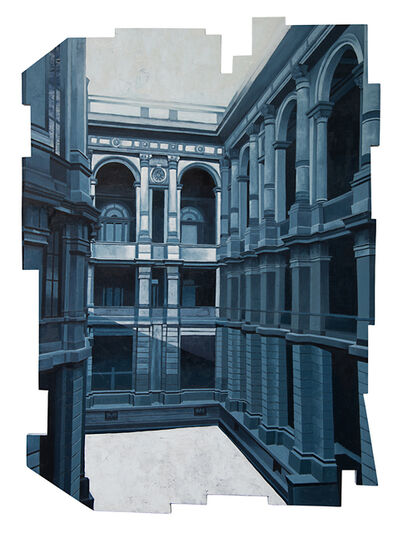Cecilia Villanueva, 'Flying Castle After the Rain, Mexico City Architecture, blue cityscape realism, puzzle cut out on wood, post modern, Conceptual Art, Museo Manuel Tolsa, Palacio de Mineria, Howls moving castle, blue light and shadows', 2019