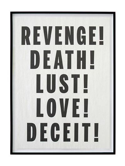 Janice Kerbel, 'Love Lust Deceit Revenge Death', 2014