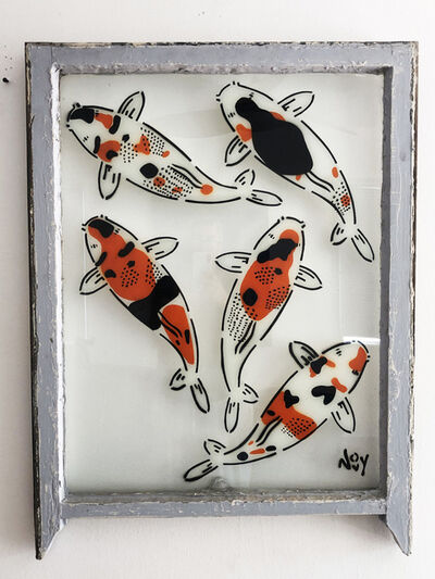 "Jeremy Novy, '""5 Koi - Right"" Spray paint on found glass in off white window wood frame', 2021"