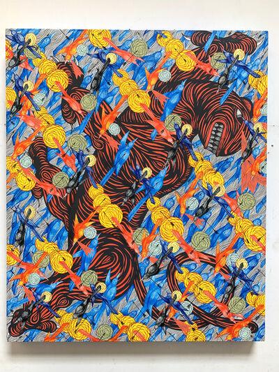 Andrew Schoultz, 'Red Tiger in Frenzy (Birds)', 2019