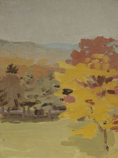 Fairfield Porter, 'Untitled (View of Pelham Hills with Tree, from Fayerweather Hall) (on verso: Still Life with Bottles)', 1969