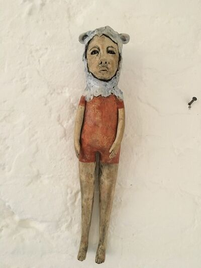 Ashley Benton, 'Ceramic hanging wall sculpture: 'Clarence was a shy guy that was looking for his inner wolf'', 2020