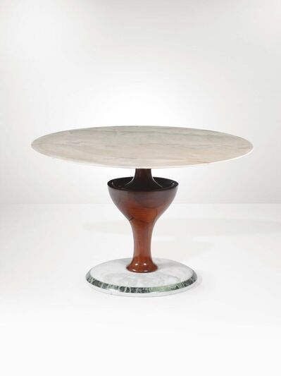 Pozzi and Verga, 'A table with a mahogany structure, an Alps green marble base and a Carrara marble top', 1950 ca.