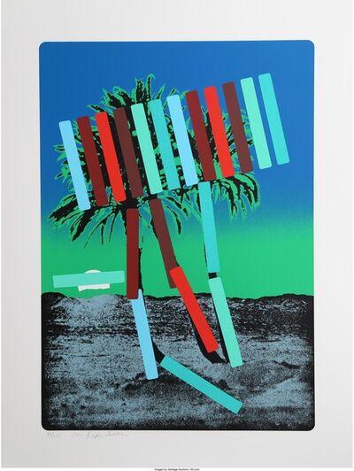 Menashe Kadishman, 'Teal and Red Palm', circa 1979