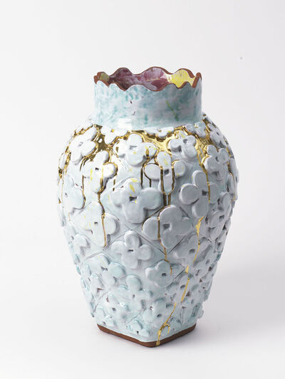 Judy Ledgerwood, 'Large Flower Motif Square Bottom Vase with Celadon, Metallic Gold + Polychrome', 2018
