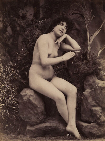 Gaudenzio Marconi, 'Nude Seated on Studio Rocks', 1870c/1870c