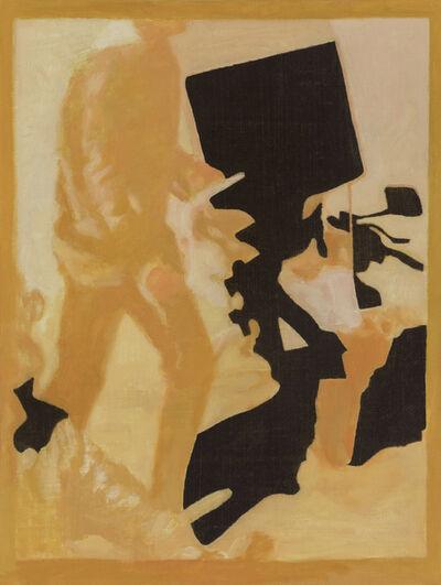 Ian Grose, 'Man walking with black shape', 2019