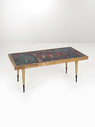 Antonini, 'A low table with a brass structure and an enamelled ceramic top', 1960 ca.