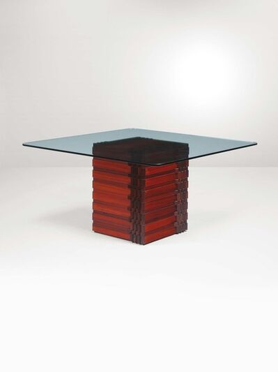 Luciano Frigerio, 'A table with a wooden structure and glass top', 1960 ca.