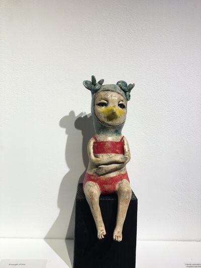 Ashley Benton, 'Ceramic figure on wood block: 'Take me to the sea'', 2021
