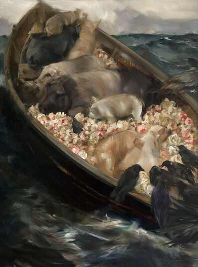 """Sarah McRae Morton, 'Wilding on November 1st, the Wyeth of a Pig - after """"Fog Warning"""" by Winslow Homer'"""