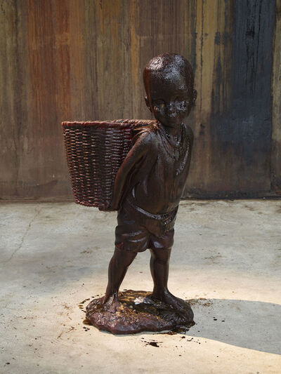 "Kara Walker, 'African Boy Attendant Curio with Molasses and Brown Sugar, from ""The Marvelous Sugar Baby"" Installation at the old Domino Sugar Factory Warehouse. (Rear Basket)', 2014"
