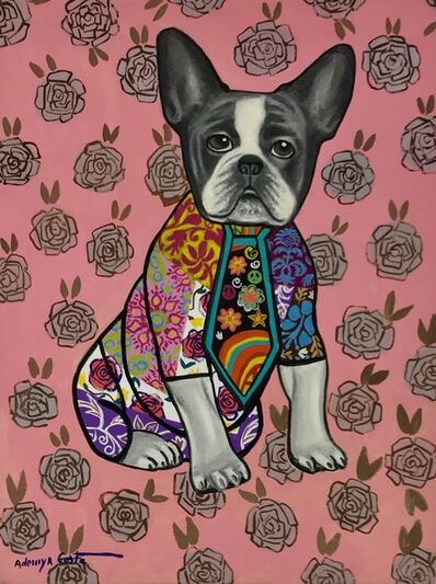 Ademyr Costa, 'Pink Dog With Flowers'