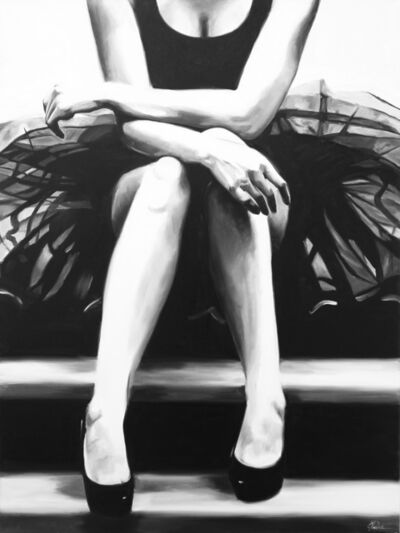 "Cindy Press, '""Sit This One Out"" a black and white oil painting of a woman sitting wearing a tulle skirt and black heels, knees together and hands across', 2010"