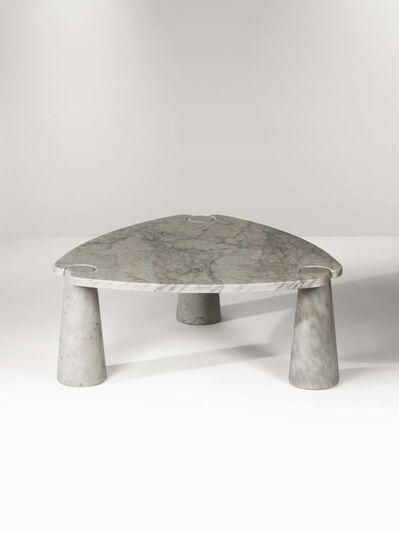 Angelo Mangiarotti, 'An Eros low table in white marble with a top on three truncated cone elements', 1971
