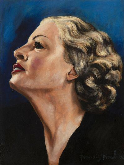 Francis Picabia, 'Profil de femme blonde sur fond bleu', 1941-1942