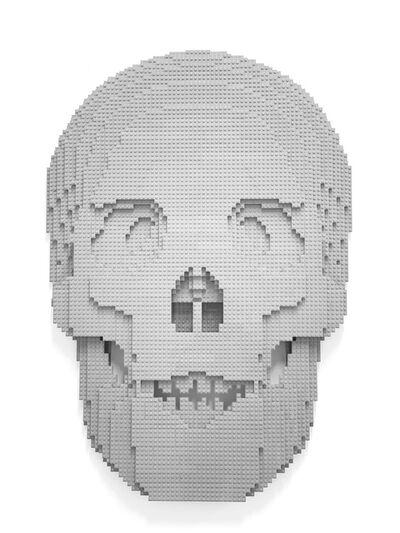 Nathan Sawaya, 'Flat Skull Light Gray', 2020